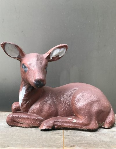 画像1: 1950'S 60'S バンビ 子鹿 シカ DEER 置物 オブジェ ペインティング コンクリート アンティーク ビンテージ