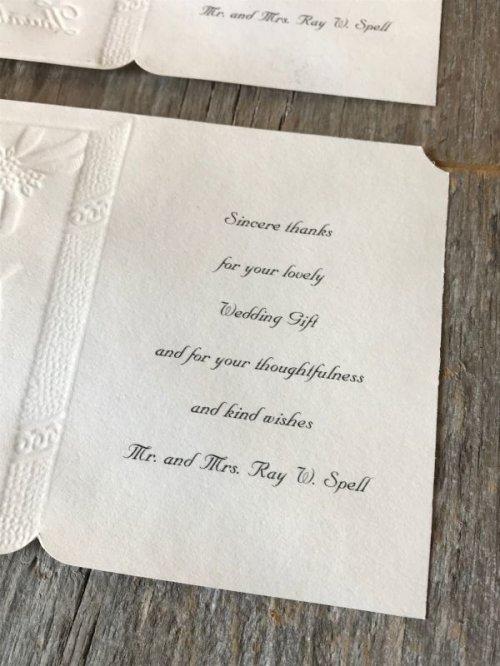 other photographs.2: 1940'S 50'S ウエディング ギフト メッセージ カード 6枚セット wedding 結婚式 マリッジ thank you エンボス アンティーク ビンテージ