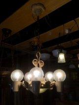 1930'S アンティーク アールデコ ペンダントランプ 5灯+2灯 装飾 シャビーホワイト シャンデリア ビンテージ