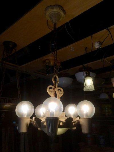 画像1: 1930'S アンティーク アールデコ ペンダントランプ 5灯+2灯 装飾 シャビーホワイト シャンデリア ビンテージ