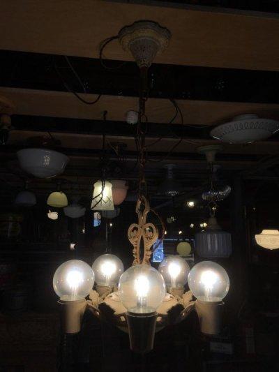画像2: 1930'S アンティーク アールデコ ペンダントランプ 5灯+2灯 装飾 シャビーホワイト シャンデリア ビンテージ
