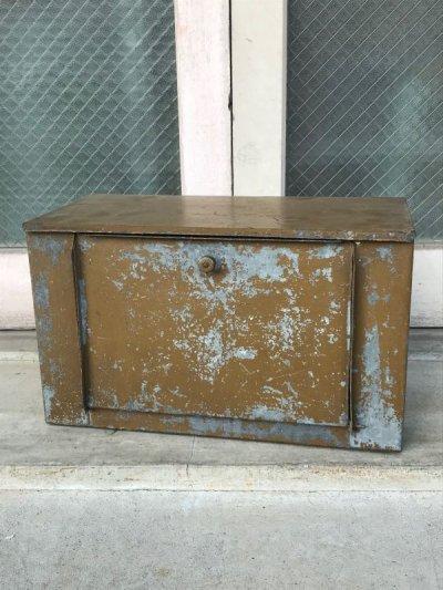 画像1: 1930'S 40's メタルキャビネット スパイスキャビネット ブレッドBOX 吊り戸棚 ウォールマウント可 シャビーシック インダストリアル アンティーク ビンテージ