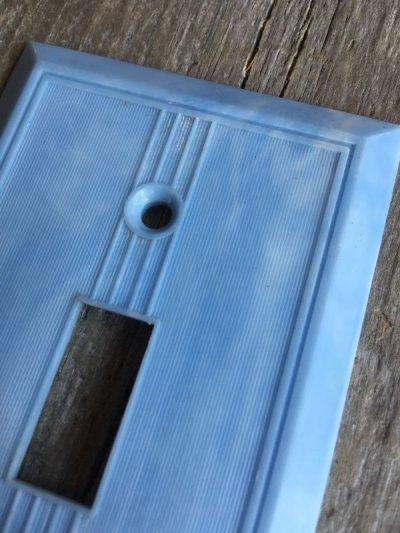 画像4: 1930'S アメリカのスイッチプレート アールデコ アーツ&クラフツ ベークライト マーブルブルー アイボリー 1口 アンティーク ビンテージ
