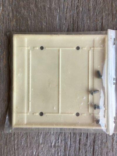 画像2: ブランクプレート スイッチプレート アメリカ USA ダブルサイズ 盲蓋 メクラ蓋 アイボリー ベークライト アンティーク ビンテージ