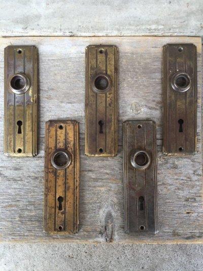 画像1: 1920'S アールデコ ドアプレート フロリダデコ バックプレート メタル 真鍮メッキ アンティーク ビンテージ