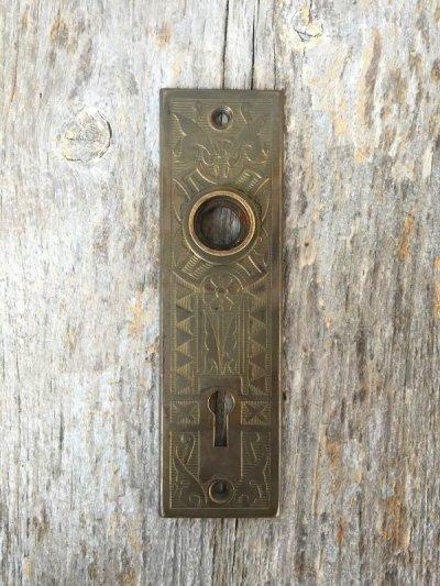 画像1: 1910'S ドアプレート eastlake arts&crafts ビクトリアン バックプレート 真鍮 装飾 アンティーク ビンテージ