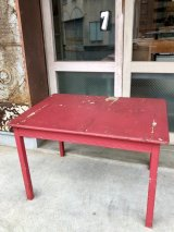 1930'S 40'S 木製テーブル ウッドテーブル ダイニングテーブル シャビーシック 朱色 ピンクレッド 店舗什器 アンティーク ビンテージ