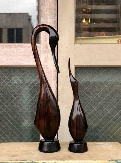 画像1: 1960'S ペア 親子 2pcsセット クレイン 鶴 たんちょう SWAN スワン 白鳥 鳥 バード ブラウン folkart モダンアート ハードウッド モダニズム ミッドセンチュリー アンティーク ビンテージ