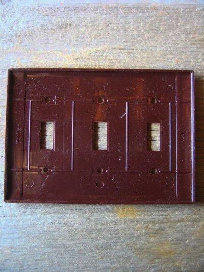 画像3: 30'S 40'S アメリカのスイッチプレート ベークライト ブラウン アイボリー 3口 アンティーク ビンテージ