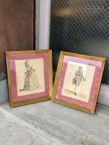 1950'S 60'S 2PCS SET ウォールデコ FASHION ルイ16世 ヴィクトリアン GIFTS by JOHNBEE ウッド ガラス ウォールマウント 壁掛け アンティーク ビンテージ