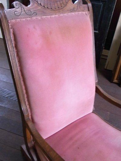 画像3: 1890'S 1900'S アンティーク ビクトリアン victorian ロッキングチェア 揺り椅子 オットマン 別珍 ベロア モケット ビンテージ