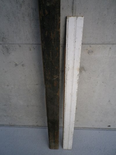 画像2: アンティーク ビードボード old フロアー材 壁材 床材 廃材 30cm×30cm@ Bead-Board ホワイト 白 シャビー ビンテージ