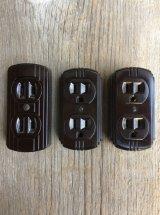 1930'S 40'S EAGLE LEVITON 箱付きデッドストック NOS アールデコ 2口 コンセント outlet ブラウン ベークライト アンティーク ビンテージ