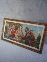 アンティーク ウォールオーナメント マリア、キリスト&斧を持った男性 ビンテージ
