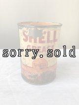 1940'S 50'S ティン缶 SHELL GREASE シェル グリース缶 小型 アドバタイジング 蓋アリ アンティーク ビンテージ