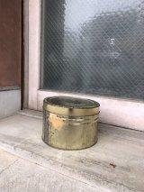 1960'S 70'S ゴールド チェリー缶 蓋付 ストレージ缶 トラッシュカン ブリキ ティン缶 ゴミ箱 ドラム アンティーク ビンテージ