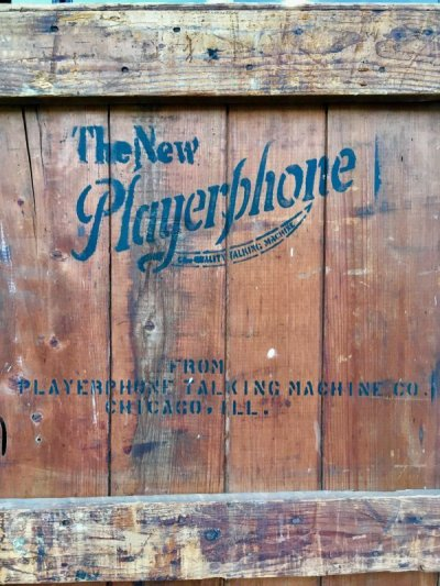 画像2: 1910'S 1920'S アーリーセンチュリー Playerphone Talking Machine Company Chicago IL フォノグラフ SP盤 戦前 ジャズ JAZZ JUMP BLUES JIVE 木箱 コンテナ ウッドボックス 蓄音機 victor ビクター アンティーク ビンテージ