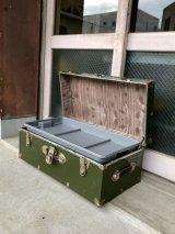 メタルトランク カーキ 中型 スーツケース 店舗什器に アンティーク ビンテージ