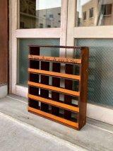 1930'S 40'S 50'S ウッドキャビネット ファクトリーキャビネット    ボルトビン BOLT BIN ブラウン/オレンジ シャビーシック ウッド 陳列棚 ショップ什器 店舗什器 インダストリアル アンティーク ビンテージ