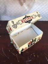 1960'S RECIPE BOX メタルティンボックス レシピ入れ キッチンディスプレイ 仕切カード付き アドレス帳にも! アンティーク ビンテージ