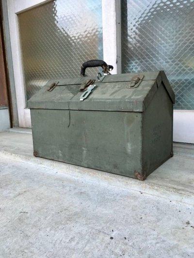 画像1: 1940'S 50'S ツールボックス 大型 メタルボックス ミリタリー アーミー 工具箱 収納ケース インダストリアル アンティーク ビンテージ