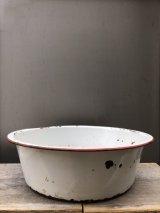 19世紀 ホーロー WASHBOWL 洗面器 トレイ 琺瑯 ホワイト/レッド カントリー アンティーク ビンテージ