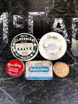 1930'S 40'S 50'S ミニ ティン缶 5個セット SALVE PRO-GRIP REXALL BELLAIZE SUNBEAM ワックス缶 オイル缶 ピルケース アドバタイジング アンティーク ビンテージ