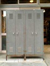 1950'S 60'S LYON METAL PRODUCTS INC. リヨン リオン industrial アイアン メタルロッカー 超大型 4セクション グレイ フック付き アンティーク ビンテージ
