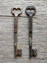 1880'S 90'S レア! ビクトリアン フォールディング スケルトンキー 折り畳み カギ 大型 鍵 錠 サビ シャビーシック キーホルダーに ペンダントトップに アンティーク ビンテージ