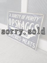1920'S 30'S 40'S サイン 看板 スチール ティン エンボス 軽量 アドバタイジング グロサリーストアー SIGN O.P.SKAGGS System GROCERIES-MEATS 小型 アンティーク ビンテージ