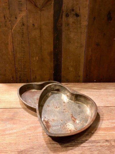 画像1: ハート型 ハートマーク heart pan モールド 型 スチール トレイ 小物入れ テーブルソーター アクセサリートレイ ショップ什器 アンティーク ビンテージ