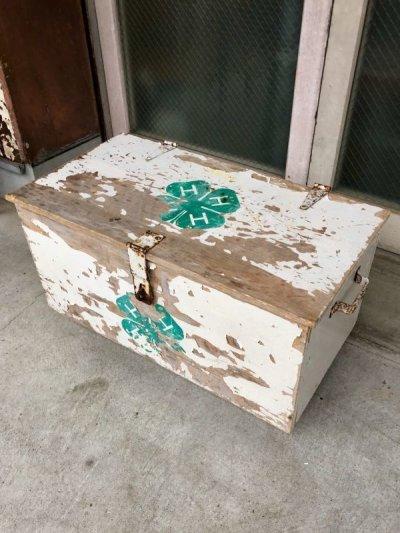 画像1: ウッドボックス 宝箱 シャビーホワイト クローバー 4H CLUB 木箱 ツールボックス ストレージボックス 取手付き シャビーシック アンティーク ビンテージ