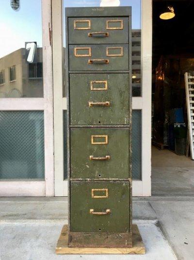 画像1: 1940'S 50'S アイアン ドロワー SHAW WALKER メタル ストレージ ミリタリー オフィス ファイリング キャビネット Metal storage 変則5段 カーキ 大型 ヘヴィーデューティー インダストリアル アンティーク ビンテージ