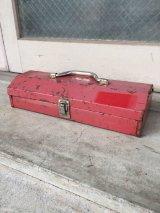 ツールボックス 小型 薄型 車載工具 レッド 赤 メタルボックス 工具箱 アンティーク ビンテージ
