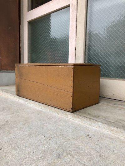 画像1: ウッドボックス 蓋付き シャビーシック ベージュ 木箱 コンテナ ストレージBOX ツールボックス アンティーク ビンテージ