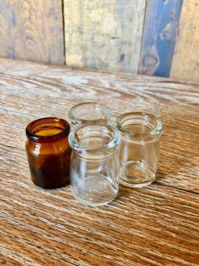 画像1: 1940'S 50'S ミニ メディスンボトル 4本セット 瓶 アンバーガラス クリアーガラス アンティーク ビンテージ