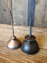 1930'S 40'S 小型 オイラー 2個セット Machine Oil Pot オイルポッド オイルピッチャー オイル差し メタル ブラス インダストリアル アンティーク ビンテージ
