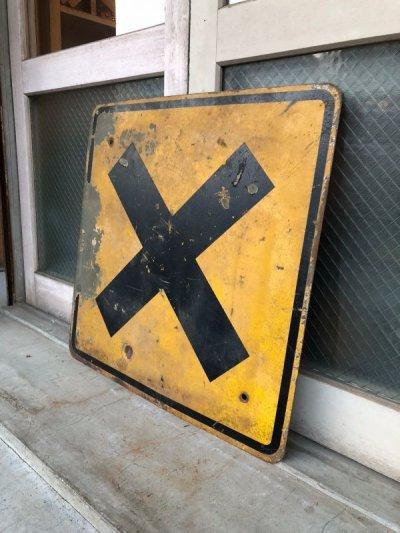 画像1: 道路標識 看板 サイン アイアン ROAD SIGN RAILROAD CROSSING 大型 アンティーク ビンテージ