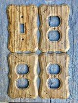60'S スイッチプレート ウッド柄 コンセントプレート スチール 木目調 ミッドセンチュリー モダン アンティーク ビンテージ