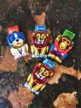1950'S 4pcs/SET JAPAN ティントイ tin toy ライオン チンパンジー 犬 動物 ブリキ おもちゃ クリッカー オブジェ ディスプレイ アンティーク ビンテージ