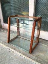 1940'S 50'S 木製枠 全面ガラス ショーケース 展示ケース ディスプレイケース ショップ什器 店舗什器 カウンタートップケース 3段 ウッド クリアガラス ジュエリーショップ アクセサリーショップ アンティーク ビンテージ