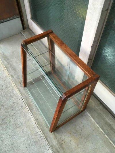 画像2: 1940'S 50'S 木製枠 全面ガラス ショーケース 展示ケース ディスプレイケース ショップ什器 店舗什器 カウンタートップケース 3段 ウッド クリアガラス ジュエリーショップ アクセサリーショップ アンティーク ビンテージ