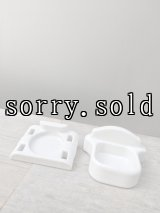 1910'S 20'S 2pcs/SET マグホルダー ソープディッシュ 歯ブラシホルダー トゥースブラシホルダー アーリーセンチュリー 洗面 ポーセリン 陶器 ビンテージブランピング セット販売 アンティーク ビンテージ
