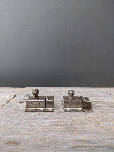 画像2: 1920'S 30'S カップボードラッチ サーフェイスラッチ スモールラッチ 小型 ミニ キャビネットラッチ キャッチ スチール メッキ アンティーク ビンテージ