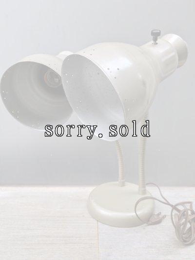 画像1: 1950'S    フレキシブルネック デスクライト テーブルランプ ベージュ メタルシェード 2灯 メタル アンティーク ビンテージ