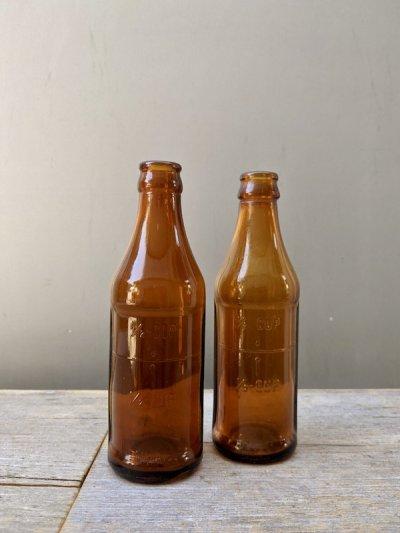 画像1: 1930'S SODA BOTTLE ソーダボトル ポップボトル ガラスボトル メジャーボトル アンバー アンティーク ビンテージ
