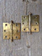 SW ドアヒンジ 蝶番 バタフライ 2PCS/SET アイアン 真鍮メッキ ヘヴィーデューティー やや小ぶり アンティーク ビンテージ