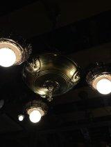 1920'S30'S アールデコ シーリングライト パンランプ 3灯 シャンデリア 真鍮 ベアバルブ スイッチ付 ソケットサラウンド 装飾 アンティーク ビンテージ
