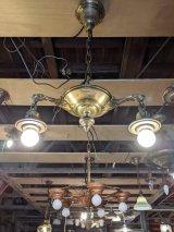 1920'S30'S アールデコ シーリングライト パンランプ BRYANT 2灯 シャンデリア 真鍮 ベアバルブ スイッチ付 ソケットサラウンド 装飾 アンティーク ビンテージ
