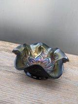 1900'S 10'S 20'S レア! ART DECO カーニバルグラス インペリアルグラス ナッツボウル キャンディトレイ ボタニカル フラワー ガラス アメジスト 玉虫色 アンティーク ビンテージ